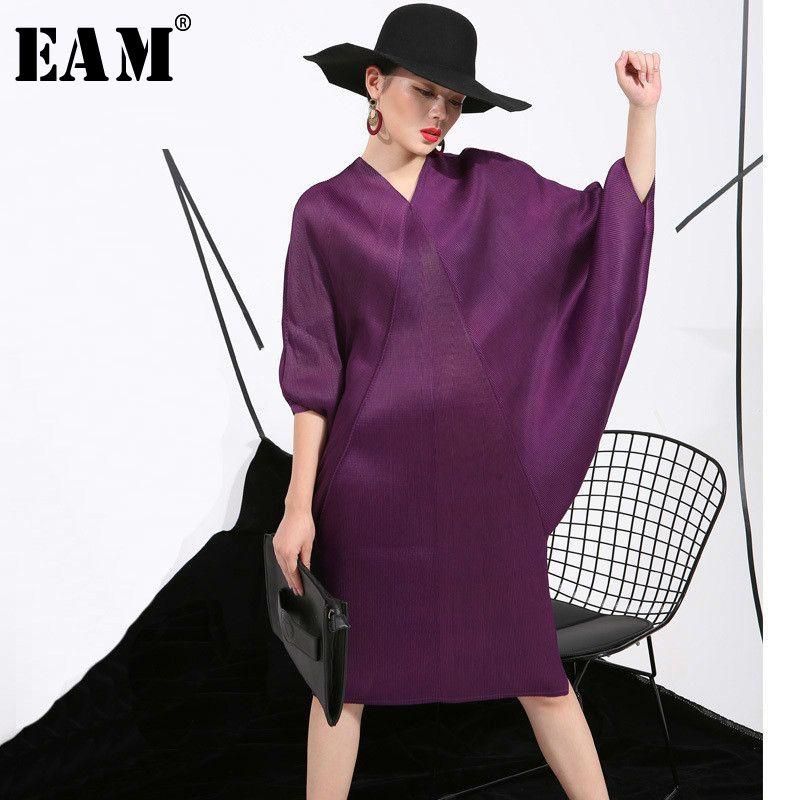 [EAM] 2020 Spring Trendy New Crimp Bat Sleeve Design Big Size Loose Large Size Solid Color Dress Women Fashion FU11191 T200319