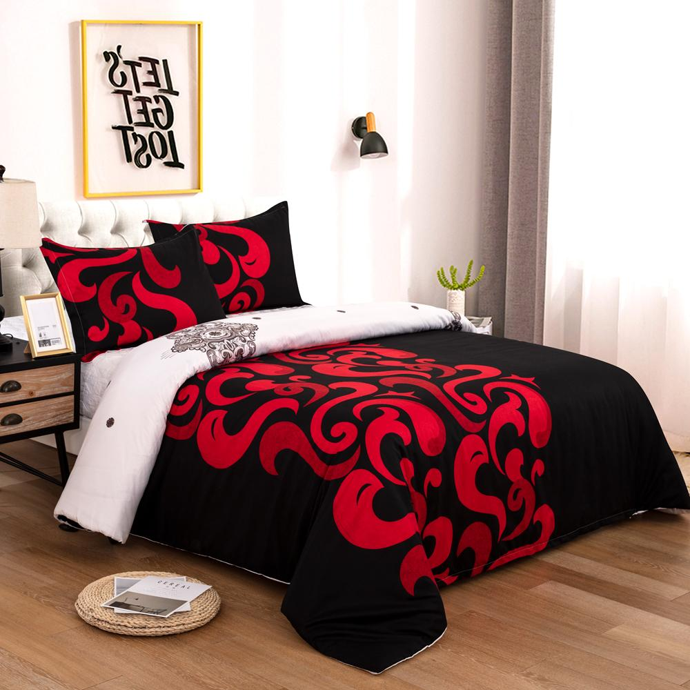 Duvet Cover Set Red Decorative pattern Bedding set With Pillowcases Queen King Size Bedclothes 3pcs Bed linen