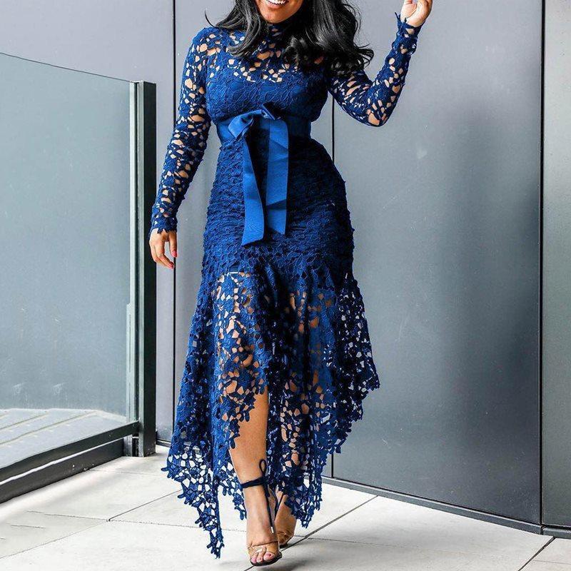 Élégant Party Vintage Sexy Black Grosse Taille femme Robes longues creux dentelle maille moulante plage bleu 4XL African Fashion Maxi Dress T200106
