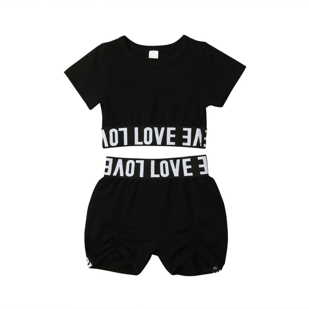 UK Toddler Girl Kid Child Crop Top T shirt Short Pants Clothes Sunsuit Outfits