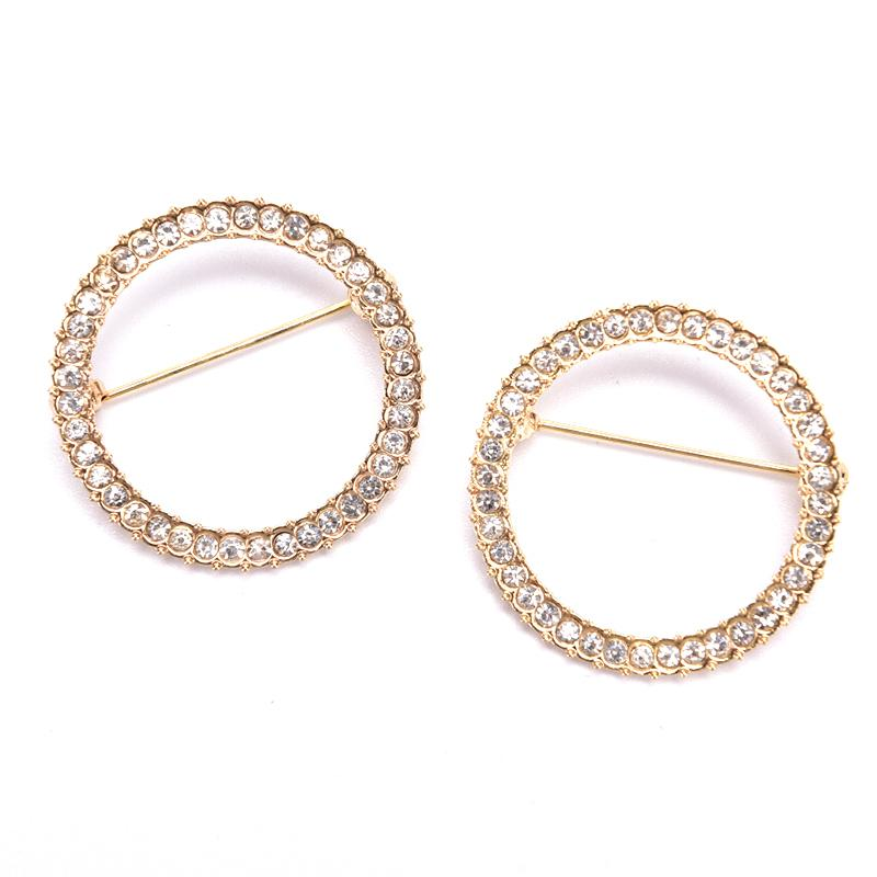 1pcs Hollow Circle Rhinestone Zircon Brooch Women Shawl Clip Scarves Fashion Crystal Broche Gift