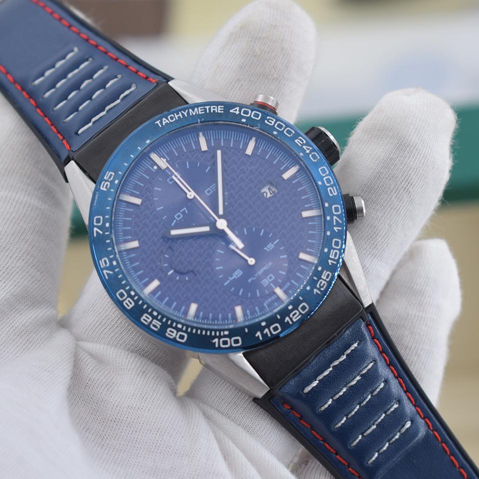 Sıcak Satış Kuvars Hareketi Chronograph Watch Erkek Mavi İskelet Rubber Band erkek İzle Spor Saatleri Montre Homme Dial