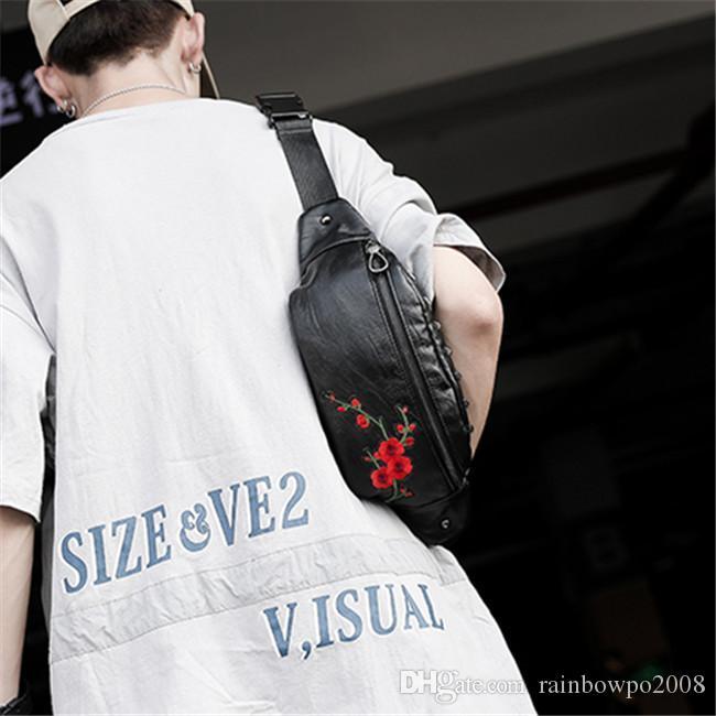 men handbag embroidered shoulder bag street fashion flowers embroidered men and women Messenger bags large outdoor leisure leather bag