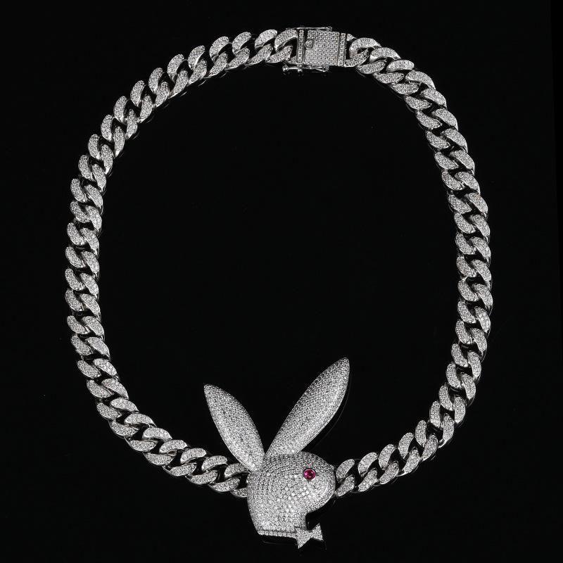Hip-Hop Baguette Halskette Männer Miami Cuban Link-Ketten-Frauen Verbindungen Messing Mikro pflaster CZ-Rote-Augen-Kaninchen-Anhänger Halskette