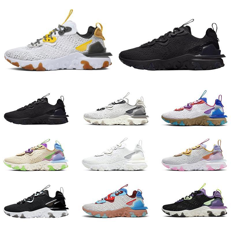 Nike React Element Vision 55 87 Yüksek kaliteli reaksiyon öğesi görüşü 55 87 koşu ayakkabıları erkekler kadınlar üçlü siyah beyaz yanardöner petek erkek eğitmenler