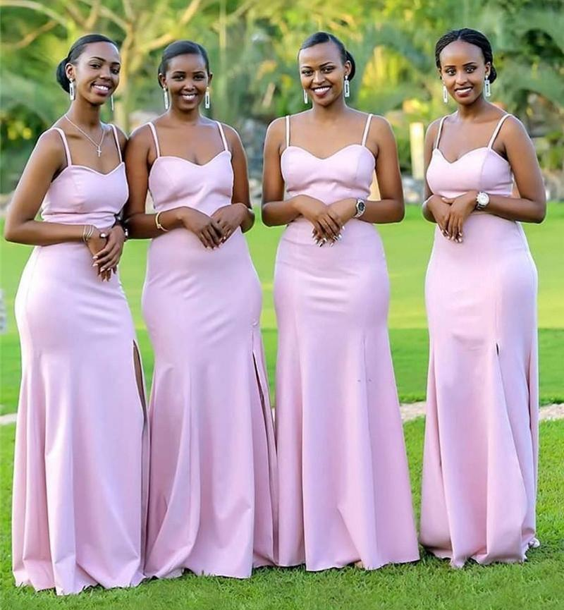 Сексуальные африканские розовые русалки невесты платья платья западной страны Западная страна Свадьбы садовая горничная честь платья спагетти ремешок горничный платье чести