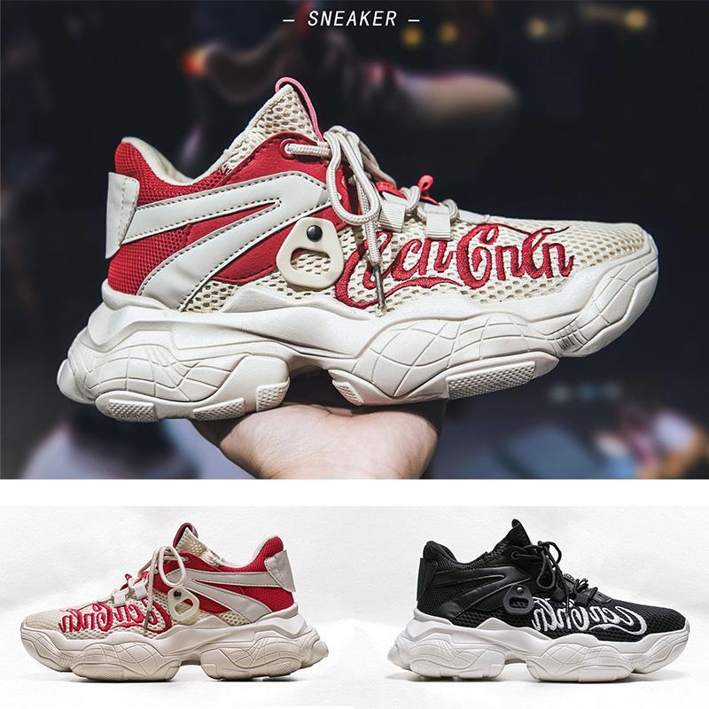 erkekler kadınlar için yüksek kaliteli yaşlı babam ayakkabı uçan çizgi siyah beyaz rahat spor salonu spor eğitmenleri spor ayakkabısı rahat ayakkabı kırmızı 39-44