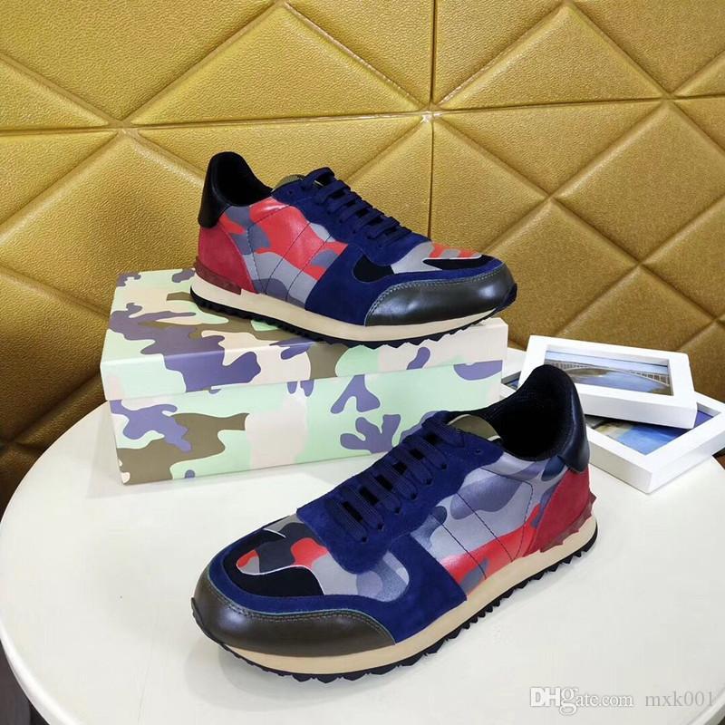 zapatos casuales otoño del resorte nuevos amantes de camuflaje multicolor remache zapatos de deporte de moda del cordón de calzado deportivo transpirable 38-45 KM04