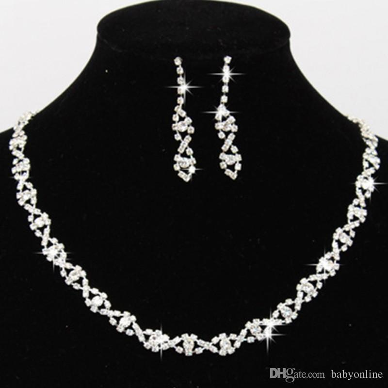 Bling Crystal Bridal Jewelry Set Silver Plated Necklace Diamond Earrings Wedding Jewelry Sets for Bride Bridesmaid Accessories CPA796