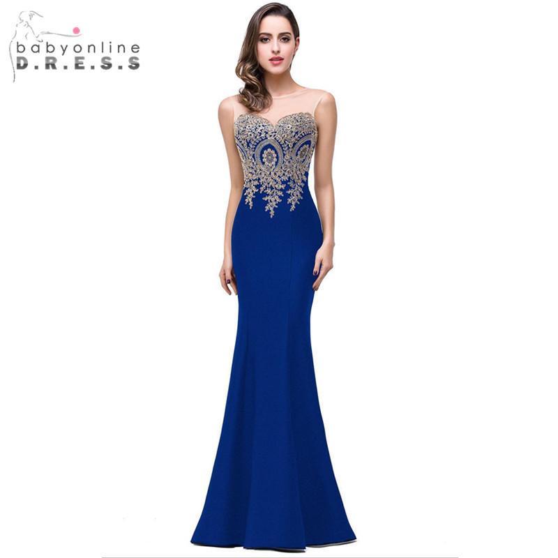 Robe Demoiselle D'honneur Elegant Appliques Lace Royal Blue Bridesmaid Dresses Cheap Wedding Party Dress Robe De Soiree Y19072901