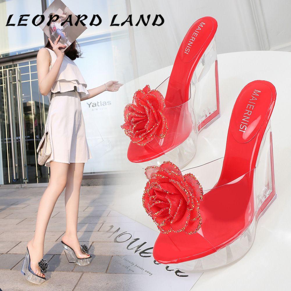 LEOPARD LAND Slope каблука Водонепроницаемая платформа прозрачный кристалл пятки супер высокой сандалии толстым дном Показать WZ