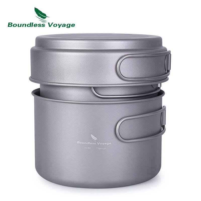 Boundless Voyage Outdoor Titanium Pot Pan Set with Folding Handle Camping Soup Bowl Frying Pan Mess Kit