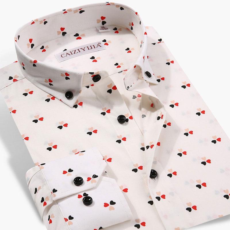 Yüksek Sınıf Erkek Uzun Kol Aşk Moda Popüler Pamuk Yaka Klasik Slim Fit Parti Gömlek CZYJ20190819C Düğme aşağı Casual Gömlek yazdır