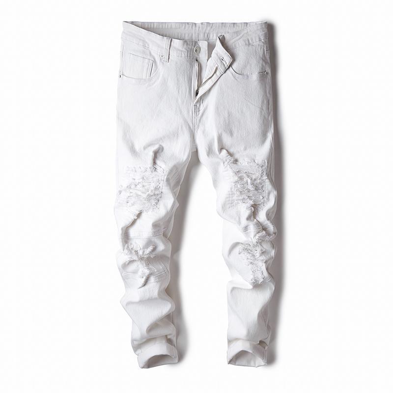 2020 hombres de la moda del basculador de los pantalones vaqueros de color Negro Blanco Streetwear punk pantalones vaqueros del agujero de Hip Hop de los hombres delgados pantalones ajuste de Carga del Hombre