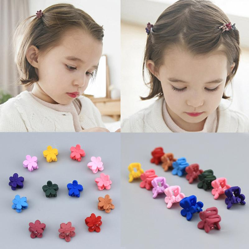 10 Pcs New Fashion Baby Girls Small Claw Cute Candy Color Flower Jaw Clip Children Hairpin Hair Accessories Dropshipping