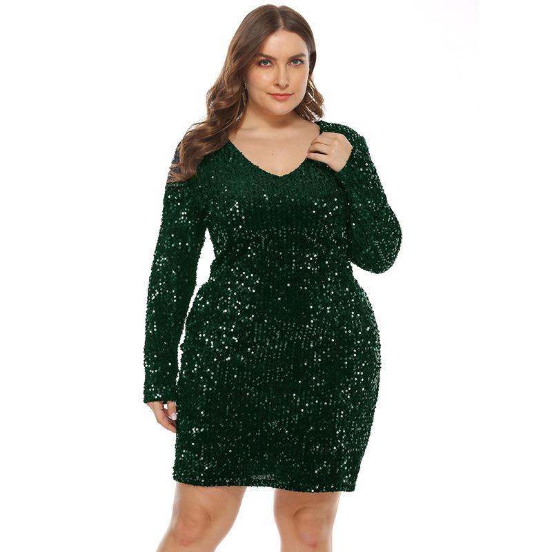 Glitter vestido más el tamaño de las mujeres de manga larga con cuello en V vestido de lentejuelas azul Negro verde grande el tamaño del club de Clubwear de gran tamaño Vestidos 4XL 5XL