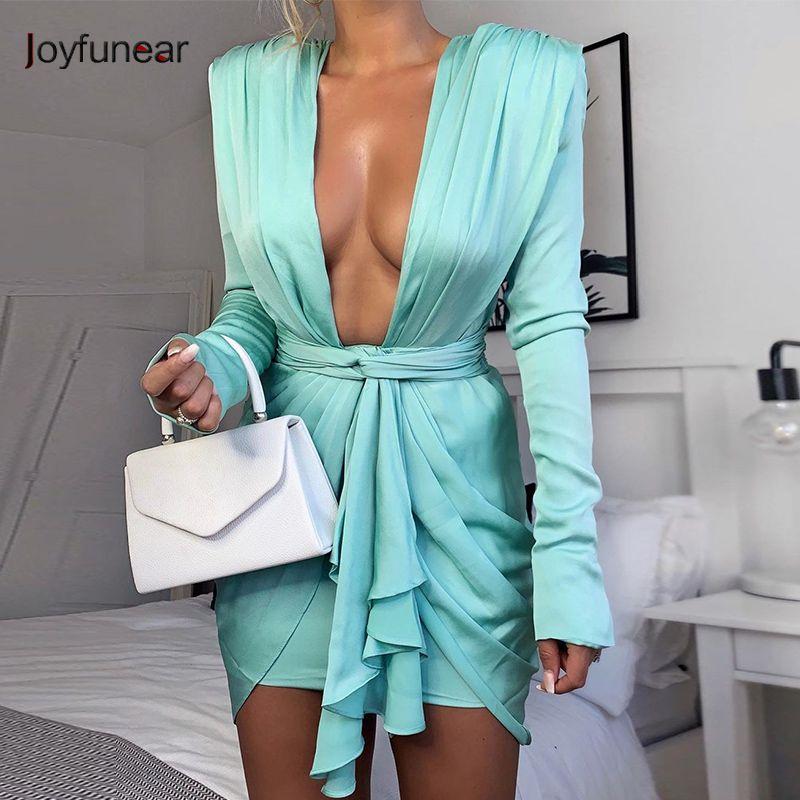 Joyfunear Mini Blue Элегантное платье Женщины Wrap Party Club Платья Bandage Глубокая V Шея Заказать Sexy Осеннее BodyCon Платье Feeme 2019 Dxunh
