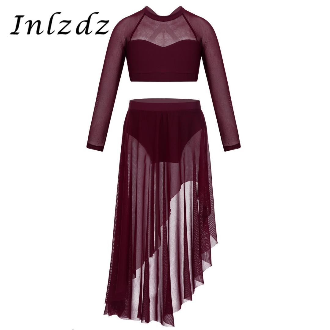 무대 착용 아이 소녀 발레 leotard 의상 긴 소매 긴 소매 자르기 얇은 얇은 스커트의 축하에 대 한 세트 칭찬 lyrical 댄스 드레스