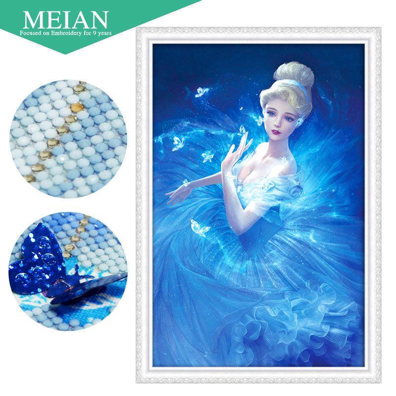 Meian 3d Diy Diamond Embroidery,5d Diamond Painting,diamond Mosaic,girl,needlework,crafts,christmas,decor Y19062704