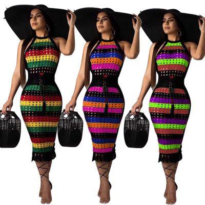Free Ship 2019 Women Sexy Hallow Out Striped Print Halter Dress Bodycon Slim Pencil Dress Club Wear