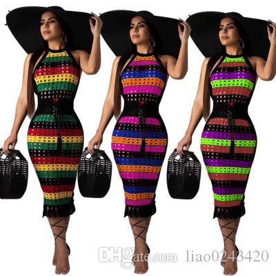 Free Ship 2019 Women Sexy Hallow Out Striped Print Halter Dress Bodycon Slim Pencil Dress Club Wear