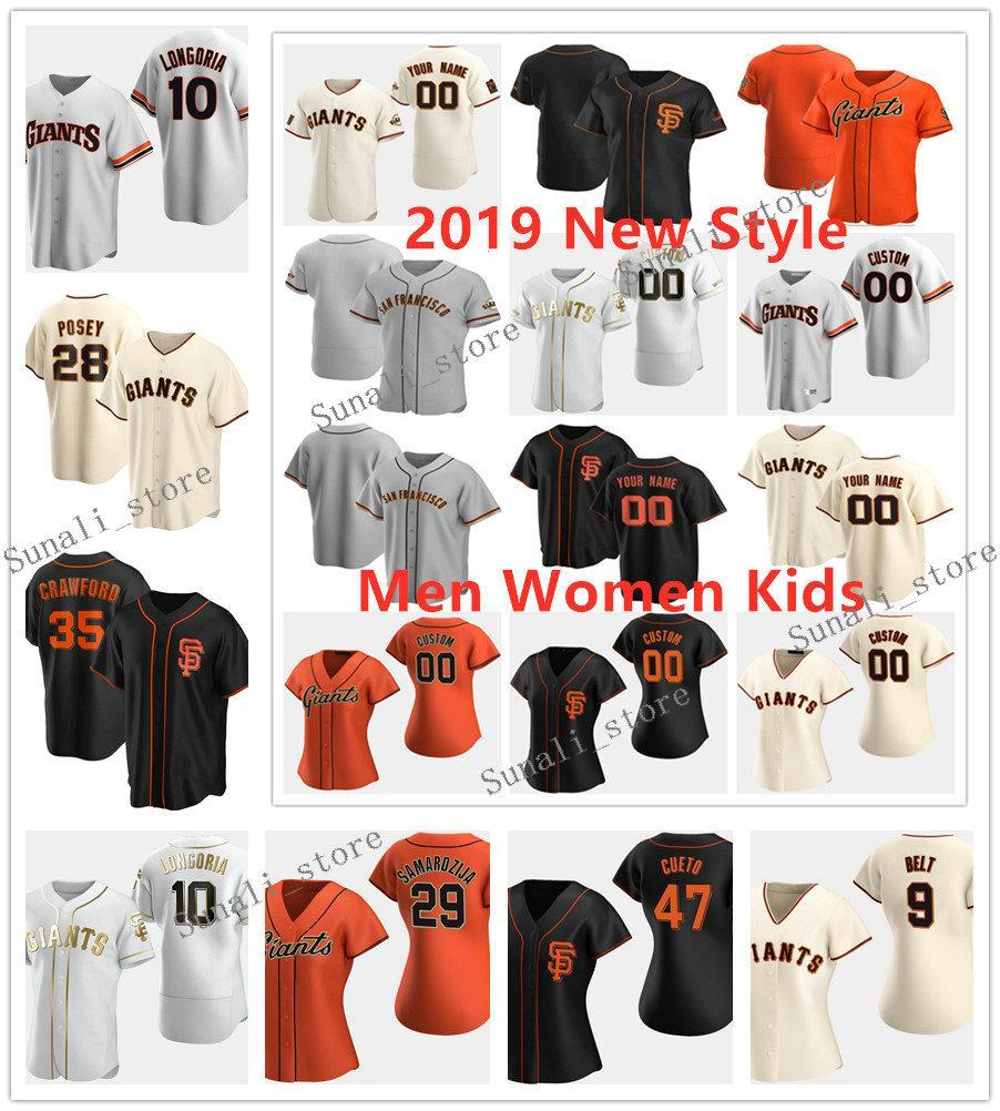GR 2020 Baseball Jersey Brandon 9 Ceinture Brandon Crawford 35 Johnny Cueto 47 Evan Longoria 10 Buster Posey 28 Hunter 8 Pence Hommes Femmes Enfants
