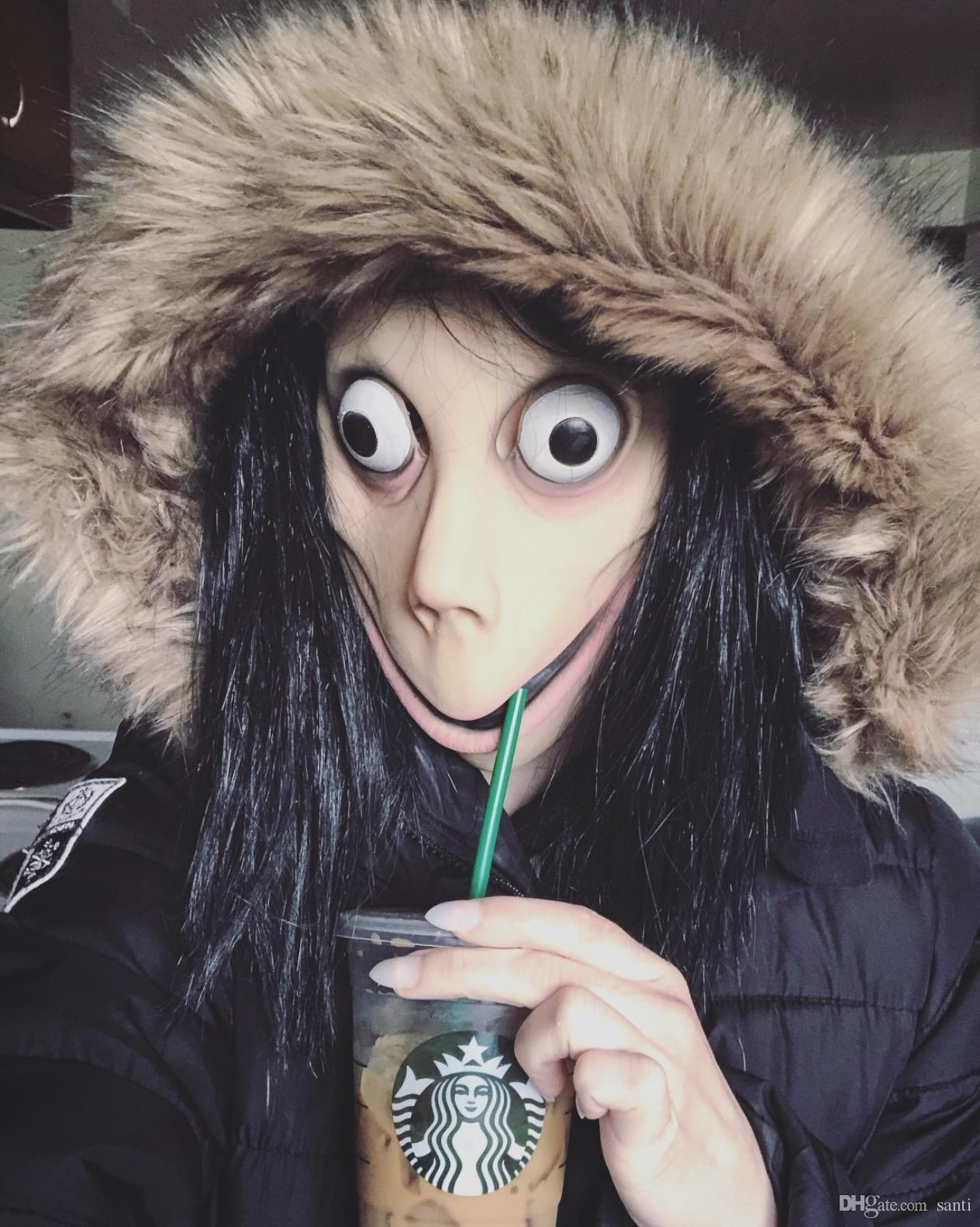 Juego de la muerte MOMO máscara del horror de la máscara de látex de Halloween de miedo Complementos Disfraz Mujer Fantasma de la peluca del partido del festival Jugando Suministros JK1909