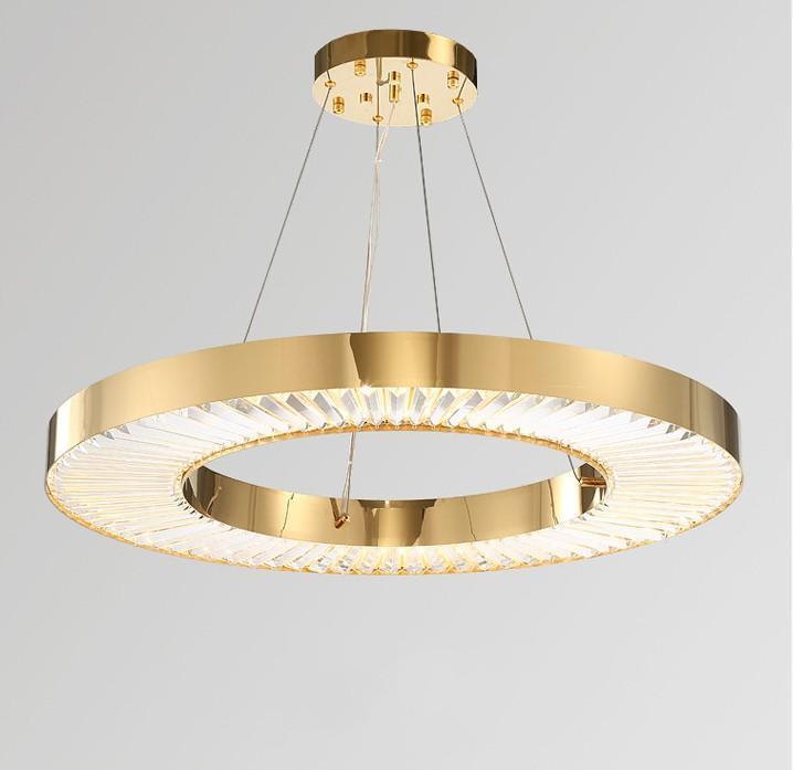 Círculo LED iluminación de la lámpara para la sala de Oro Moderno colgante de cristal dormitorio de la lámpara de acero pulido Anillo De Cristal Lustres LLFA