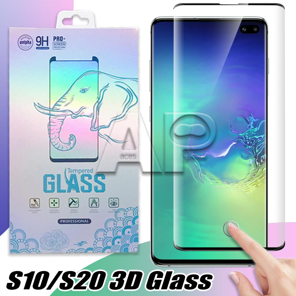 Borda Glue Curvo Screen Protector Vidro Temperado para Samsung Galaxy S21 S20 Ultra S10 Nota 10 S9 S8 Plus S7 Case Amigável