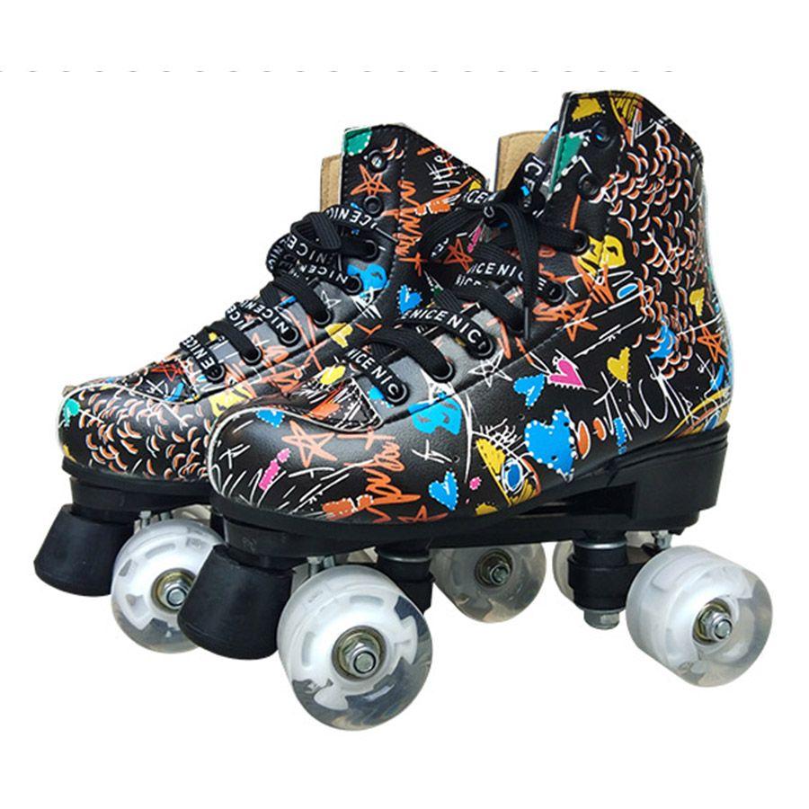 화이트 PU 4 바퀴 하피 낙서 마이크로 화이버 롤러 스케이트 더블 라인 스케이트 여성 남성 성인 두 라인 스케이트는 신발 Patines