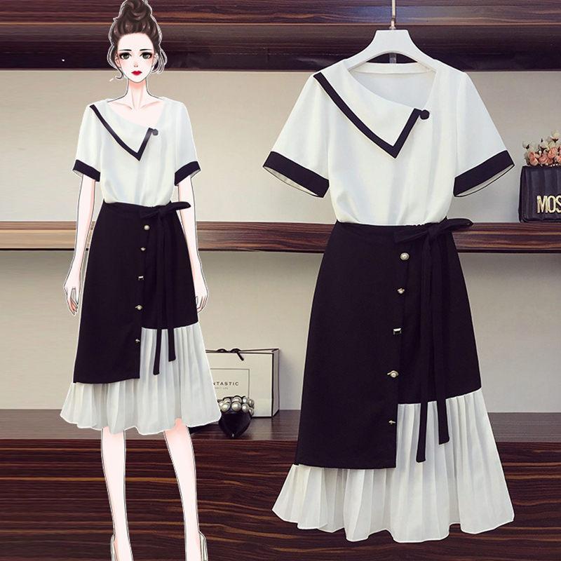 De plus Tailles femmes 2020 New Summer Chiffon Shirt + Jupe Top Deux pièces Costume Mode Patchwork irrégulière Jupe plissée Set K363