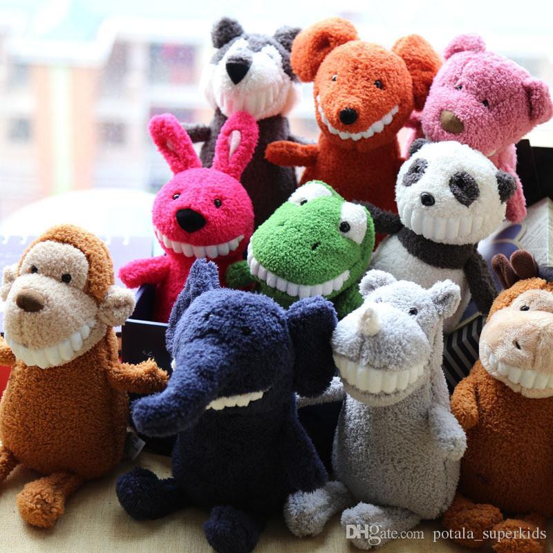 Funny grin smile animals plush toys 25CM grin big teeth plush bear Dinosaur pig fashionable soft children emulate plush toys Children gifts