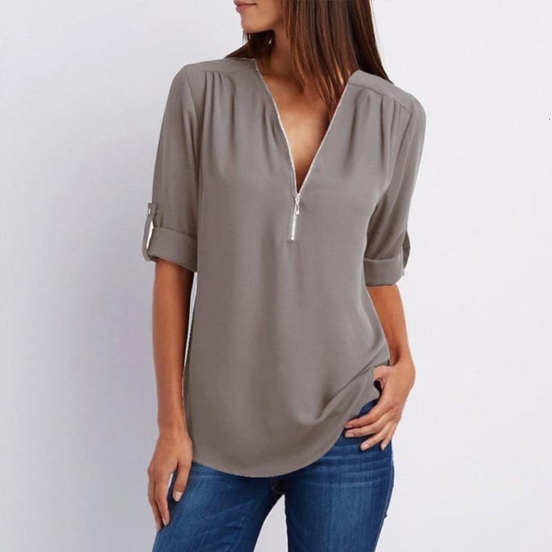 Las señoras remata la blusa mujer atractivos de las mujeres camisas con cuello en V de la cremallera remata la blusa ropa femenina Camiseta casual camisas de gran tamaño 5Xl Roupa Feminina