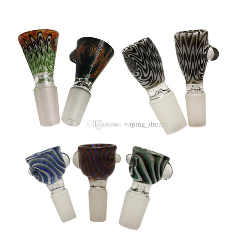 Ciotole di vetro 14mm 18mm per bong maschio giunto 5 colori ciotola di vetro tubo di fumo per bong di vetro olio suole tubi dell'acqua