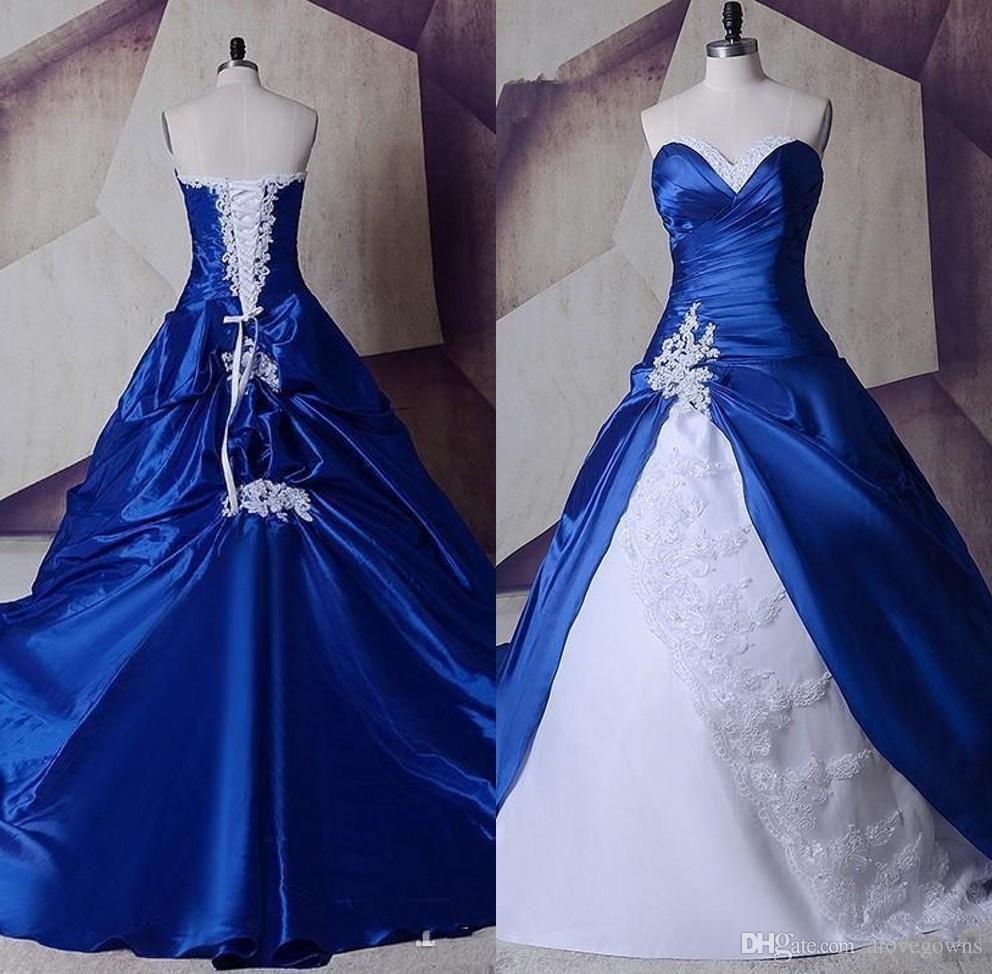 New White Royal Blue Gorgeous Wedding Dresses 2019 Lace Taffeta
