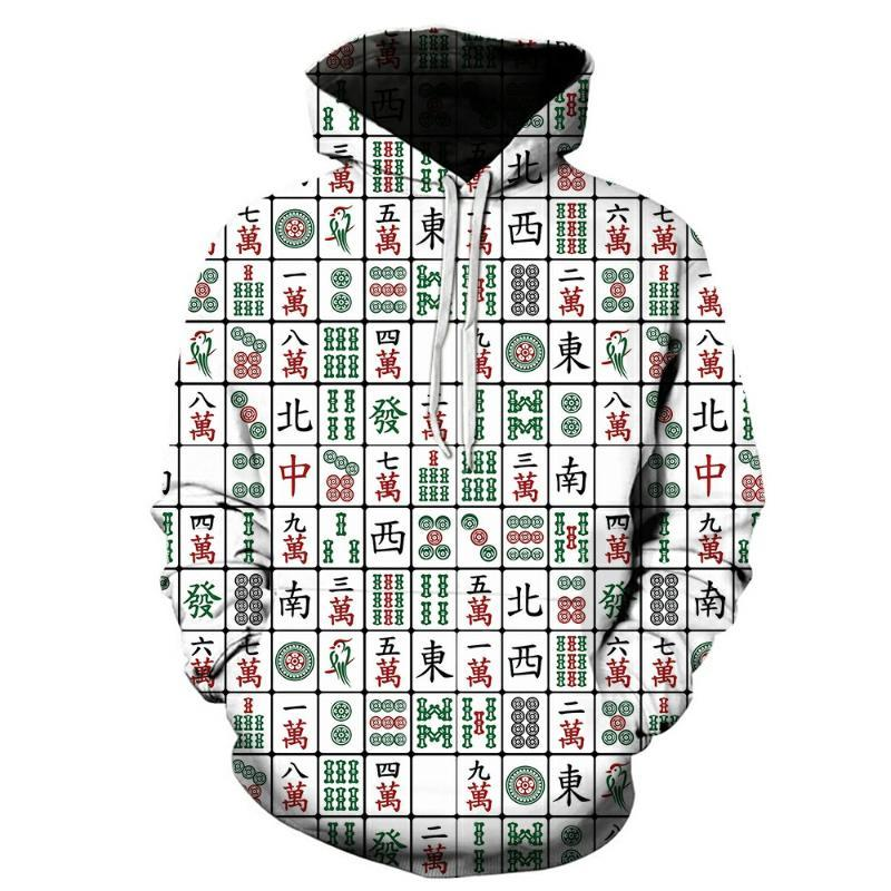 New Fashion 3D Print Hoodies Funny Unisex Hoodies Mahjong Print Hotstyle Pullover Sleeve Streetwear Sweatshirt Hoodie