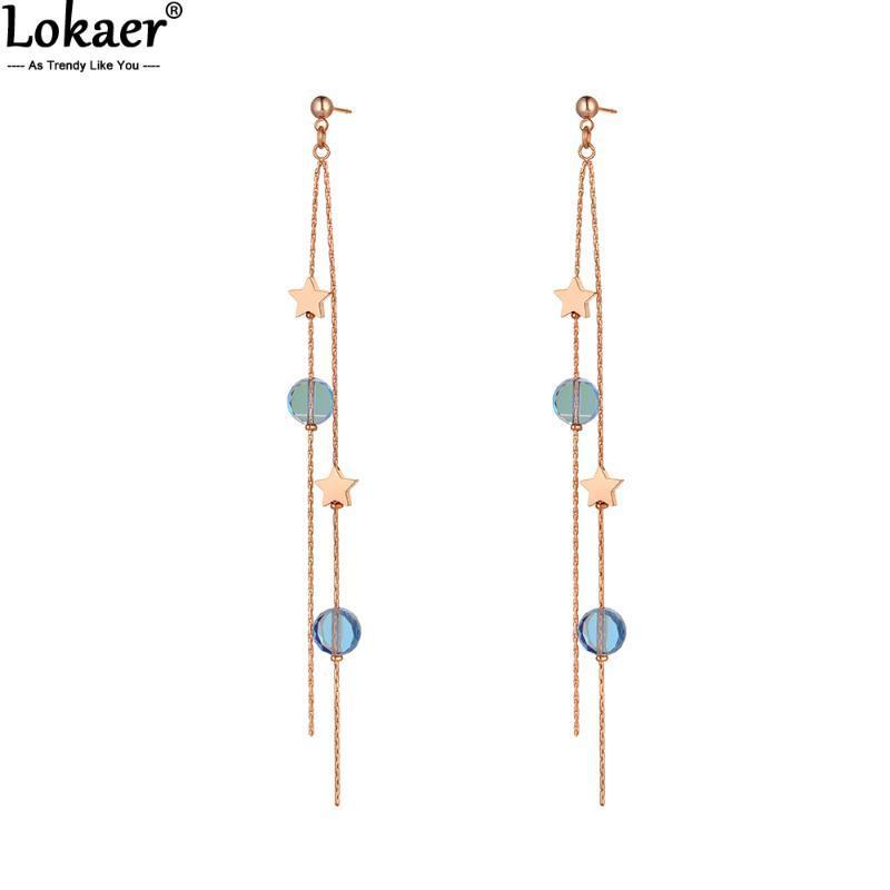 Lokaer New Titanium Edelstahl Stern Troddel-Ketten-Ohrringe für Frauen-Mädchen-Böhmen CZ-Kristall baumeln Ohrringe Schmuck-E20075