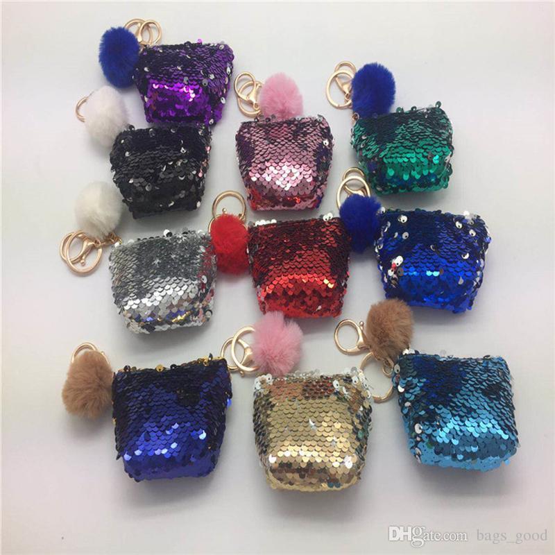 NEW Sequin Key Chain Coin Purses With Cute Plush Ball Sequin Glitter Mini Zipper Earphone Coin Wallet Girls Gift free shipping