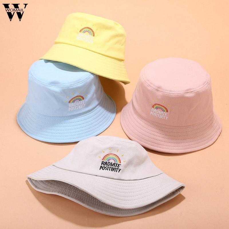 Womail seau chapeau d'été de la mode arc-en-broderie Chapeau pour les femmes fille pêche Cap extérieure vacances 2020 Sun 823