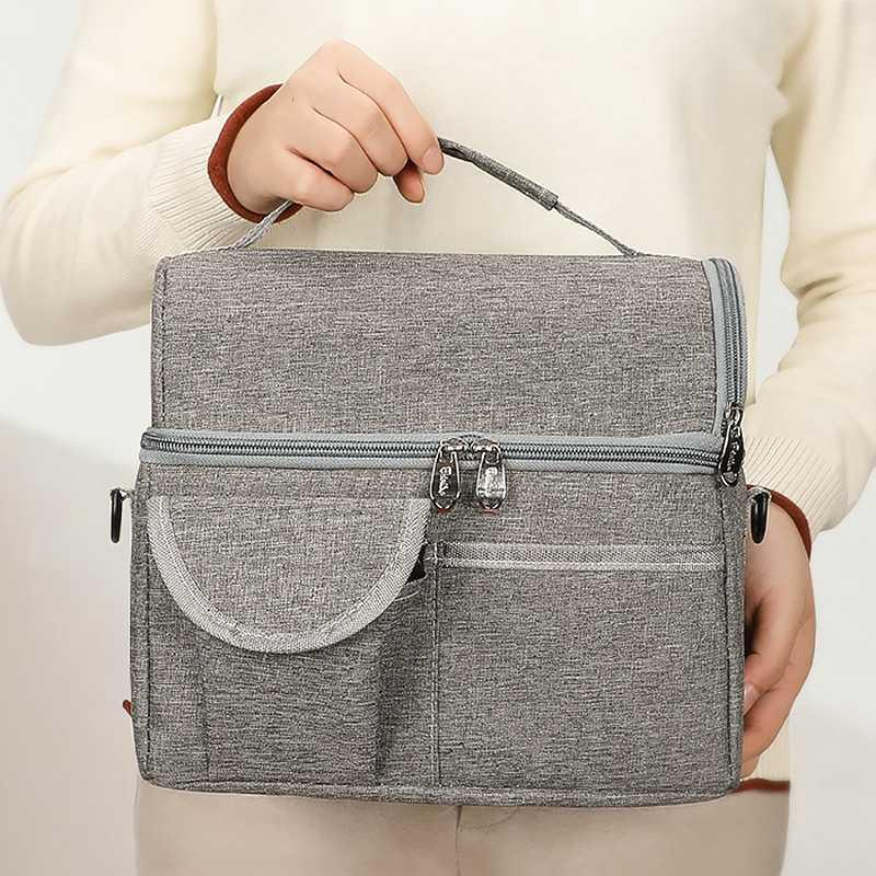 Fashion Double Layer Lunch Bag Portable Insulated Tote Thermal Box Picnic Ice Cooler High Capacity Women Kids Childer Bags