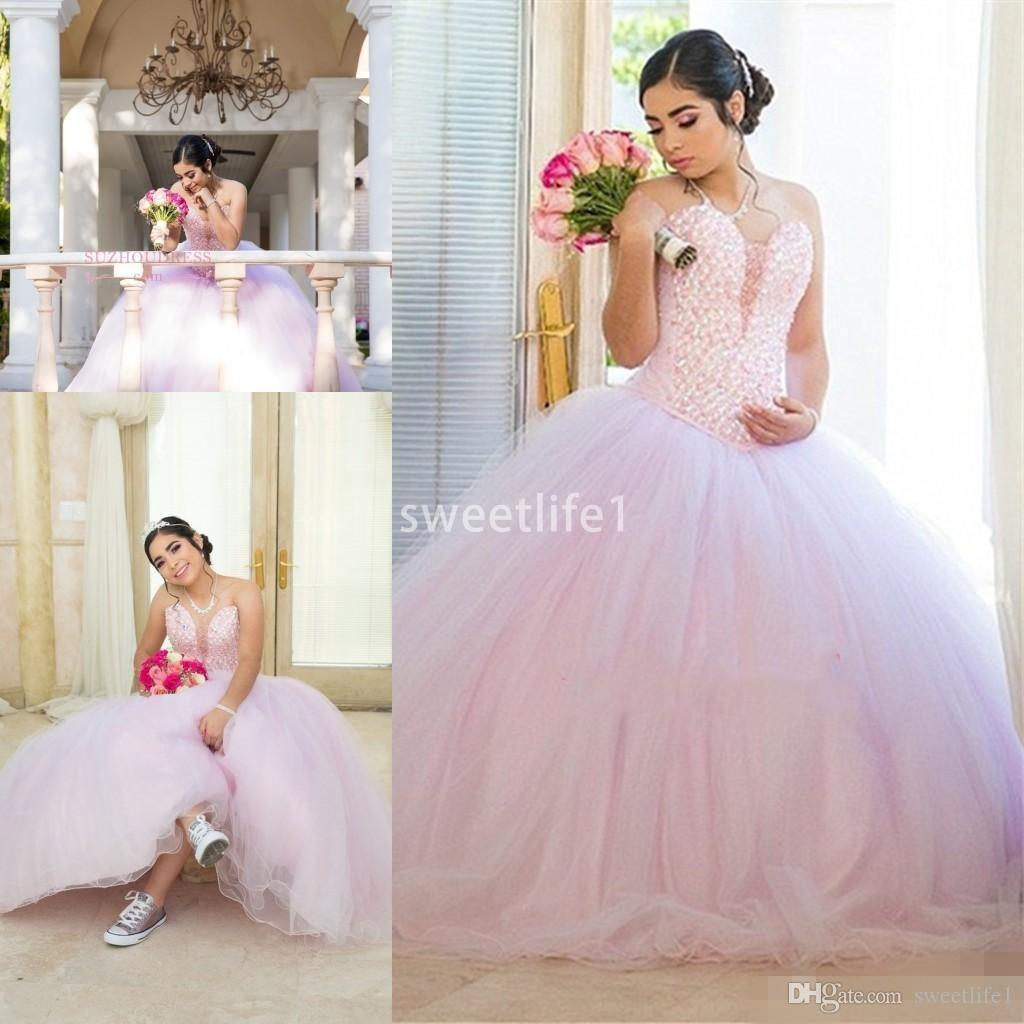Excellent Beadings Pearls Pink Quinceanera Dresses 2020 Lovely Juniors Sweetheart Ball Gown Evening Prom Gowns Plus Size
