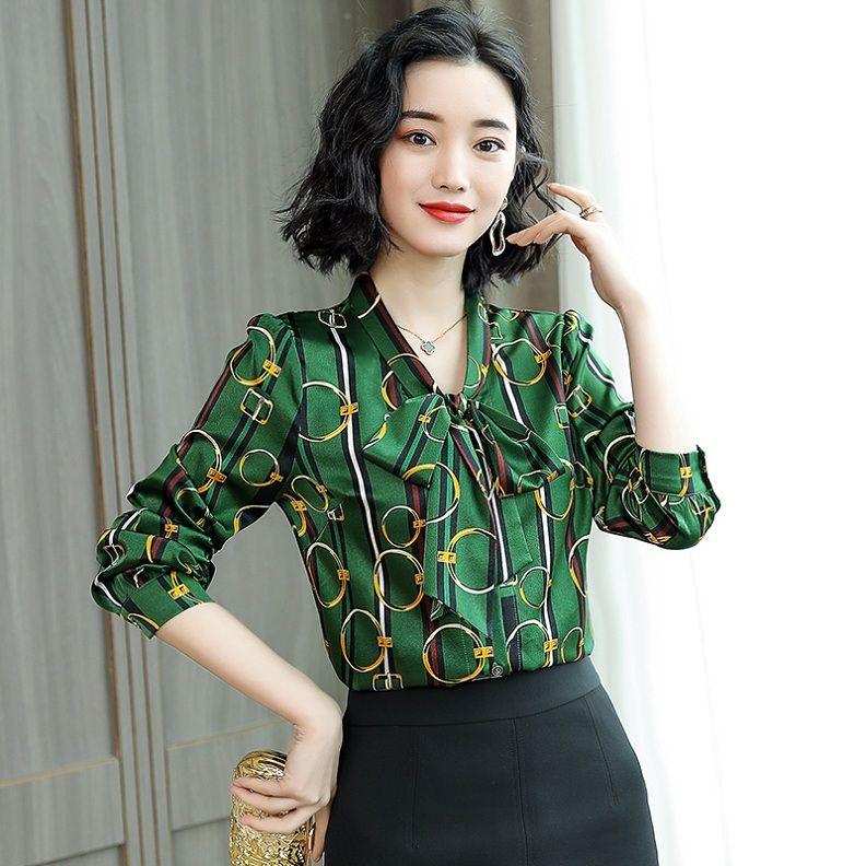 2020 Новый Шелковый сатин цепи печати Bow Shirt Плюс размер женщин с длинным рукавом Дамы Дизайнер Блузы Тонкий Подиум Элегантные офиса Кнопка Рубашки Топы
