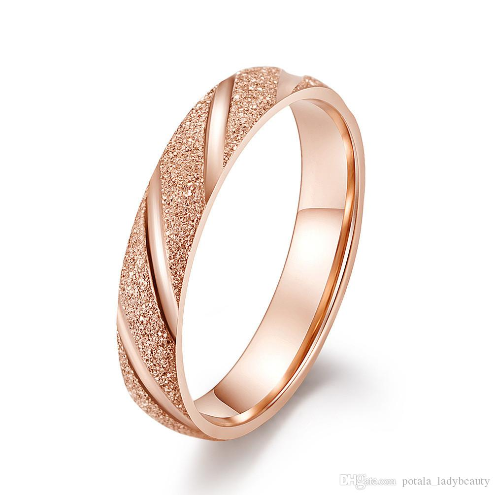 It is just a photo of Hot Simple Designer Scrub Band Rings Stainless Steel Silver&Rose Gold Plated Elegant Designer Jewelry Women Engagement Ring Accessories Gift Wedding