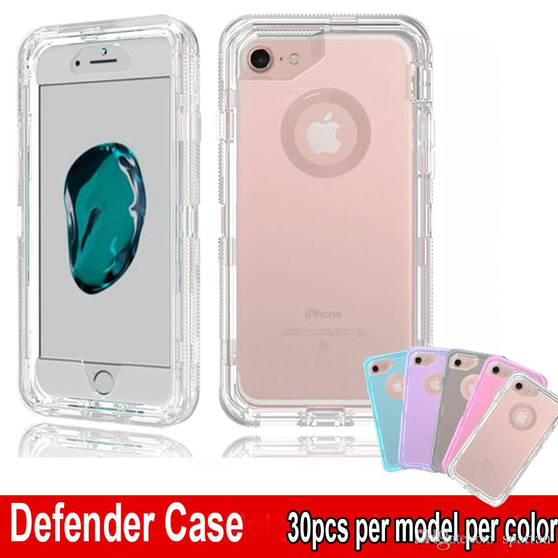 Clear Defender Case Shockproof Heavy Duty Transparent Phone Protector Armor Cover for iPhone XR XS Max 6 7 8 Plus No Belt Clip