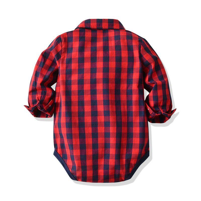 0-24M del bambino del neonato vestiti convenzionali Red Plaid Shirt Top Tute Pant Bow Boy Clothes Set