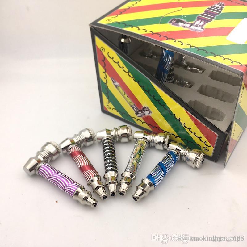 Tubos de fumar de metal con hierba de colores Tubo de tabaco portátil con caja de diaplay Mini tubo de hierba de metal seco