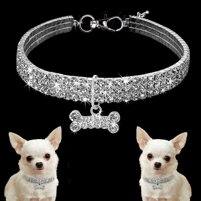 5pcs Exquisite Bling Kristallhundehalsband Diamant-Welpen-Haustier-glänzende Rhinestone-Halsketten-Kragen Halsbänder für Haustiere Kleine Hunde Supplies