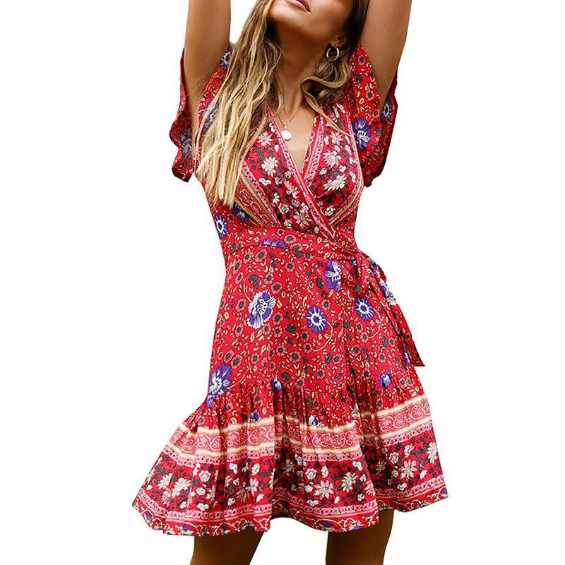 2019 verão feminino manga curta elegante sexy moda new dot caixilhos vestido assimétrico vestidos boêmio mid-bezerro com decote em v