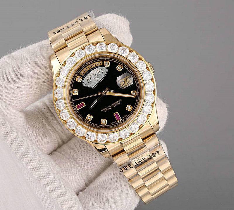 Luxury Super Хороший Президент Дневной Дата Дата Часы Большой Алмазный Бейзель Черный Циферблат Мужская Mens Reloj Часы Часы Наручные часы Наручные часы