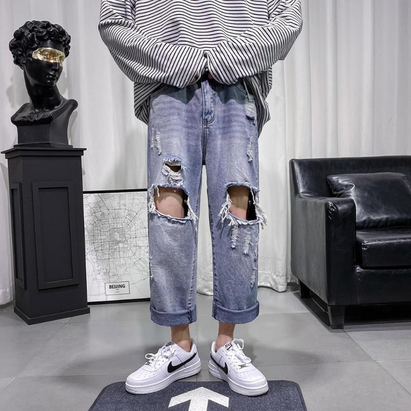 jeans pantalons casual de 2020 hommes hommes de mode en vrac déchirés
